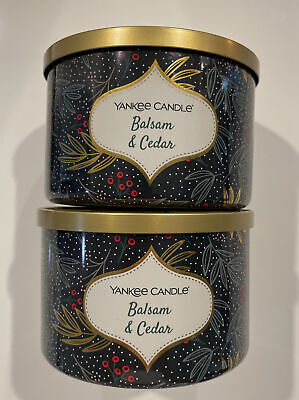 Yankee Candle BALSAM & CEDAR - Large 3-Wick Scented Candle 18 oz x Lot of 2 NWT