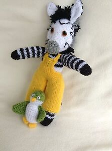 KNITTING PATTERN ONLY. PATTERN IS FOR ZOU ZEBRA AND POC BIRD