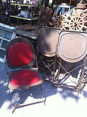 Vintage Metal Folding Chair Red~ Sturdy ~ Seat Folds from Back Side Up