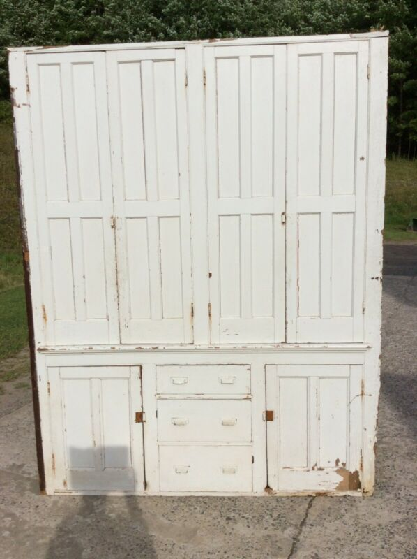 Vintage Antique One Piece Kitchen Cupboard - Top Double Doors, 3 Drawers, Great