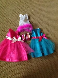 "Three cute Dresses for 18"" Doll with shoes"