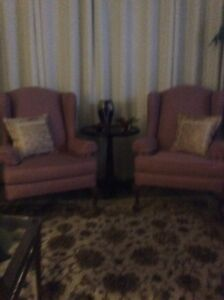 For sale   Two wing back chairs.       300.00  for the pair