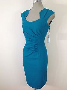 Calvin-Klein-NEW-Modern-and-Sexy-Lagoon-Dress-Side-Front-Ruching-and-fancy-neck