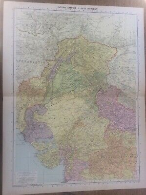 Vintage Antique 1939 Philips Map 20x15 Indian Empire North West