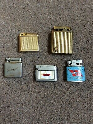 5 Vintage Collectable Metal Lighters