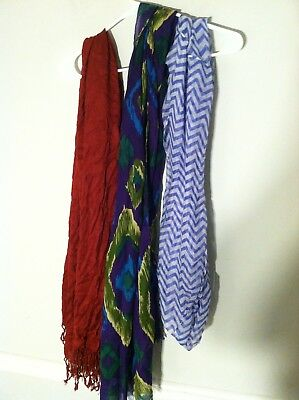 3 brand new with tags women's fashion scarves scarf purple green white red lot