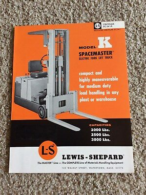 1965 Lewis-shepard Model K Spacemaster Electric Fork Lift Truck Sales Informati