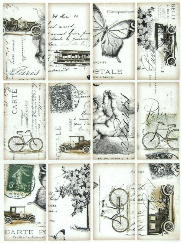 Rice Paper for Decoupage, Scrapbook Sheet, Craft Vintage Carte Postale