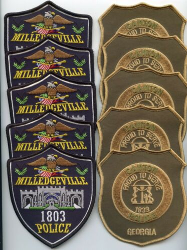 MILLEDGEVILLE & CANTON GEORGIA Trade Stock 10 Police Patches POLICE PATCH