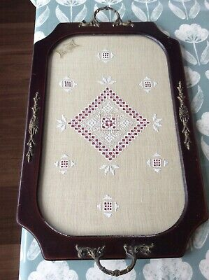 Vintage Wooden Glass Serving Tray Handmade Lefkara Lace Embroidery Panel Cyprus