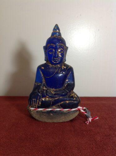"Antique ""royal blue"" glass Budda"