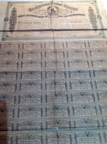 CONFEDERATE STATES OF AMERICA 1864 $100 WAR BOND ALL 60 COUPONS AND CSA TREASURY