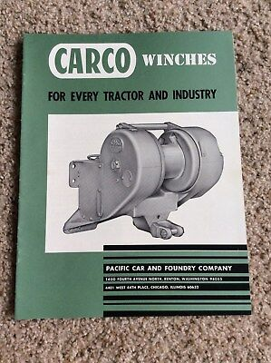 1965 Carco Winches For Tractor And Dozers Sales Handout.