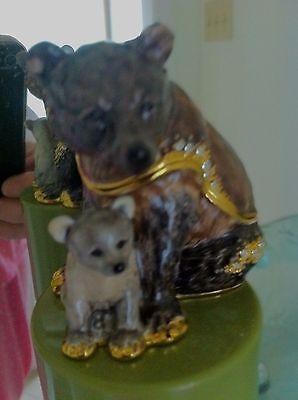 GRIZZLY BEAR AND CUB  ENAMEL JEWEL BOX   3337