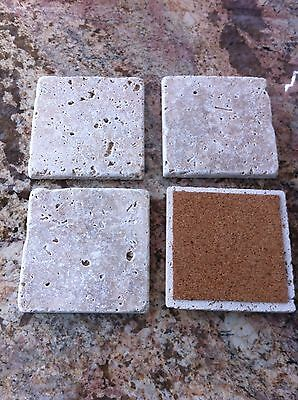 TC#7F FOUR (4) NATURAL STONE ABSORBENT TUMBLED TRAVERTINE COASTERS FREE SHIPPING