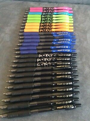 Pilot G2 Fine Black And Blue Ink 0.7mm Premium Gel Roller Pens - Lot Of 26 -read