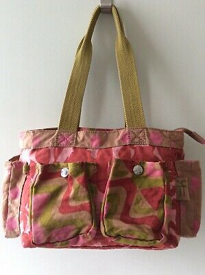 KIPLING ladies pink red and green slouchy tote grab bag