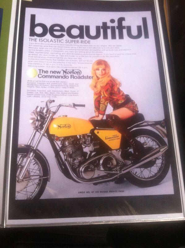Vintage Norton Commando 750  Poster Man Cave Garage Art bulk lot to england