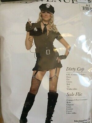 Brand NEW Leg Avenue Costume Dirty Cop 83344 Black size XS 0-2