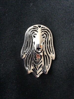 Saluki Dog Silver Pin Brooch