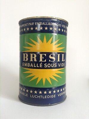 RARE Ancienne boite fer publicitaire en métal café Brésil vacuum packed TBE