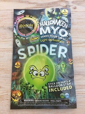 Illooms Halloween Spider LED Light Up Balloon | 1 x Make Your Own | Glows 15 hrs ()