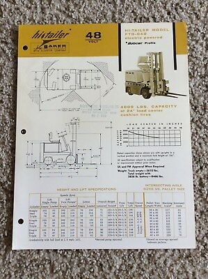 1966 Baker Electric Powered Fork Lift Truck Original Factory Printed Sales Inf