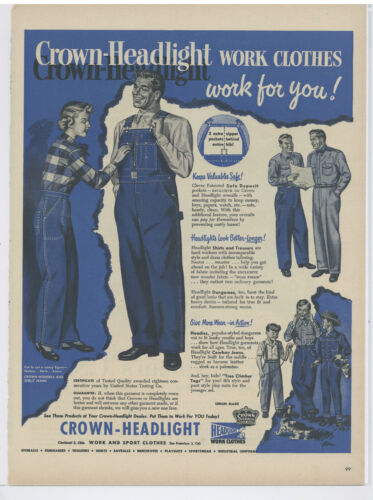"""1951 Crown Headlight Work Clothes Advertisement:  """"Work For You!"""""""