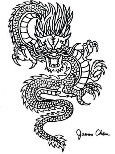 CHINESE DRAGON ORIGINAL HAND DRAWN FINE ART BY COMIC BOOK ARTIST JAMES CHEN