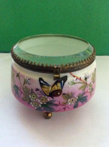 Antique Victorian Handpainted Dresser Box w/ Hinged Bevelled Glass Lid c.1880