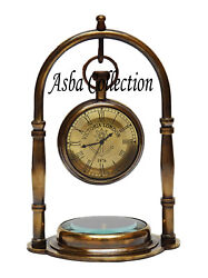 Brass Desk Clock With Compass Nautical Antique Gift Item Collectible Item