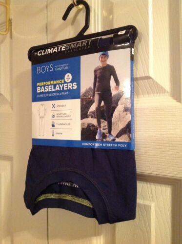 NEW ClimateSmart Base Layers Boys Performance Long Sleeve Crew & Pant Navy Large