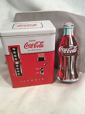 Official COCA-COLA Brand Large Bottle Shaped Tin and Vending Machine