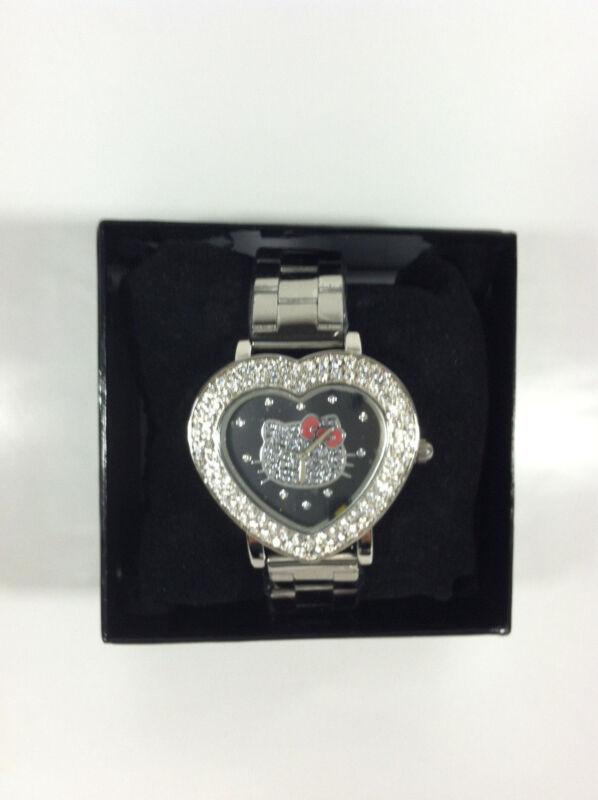 Collectible White Rhinestone Heart Shape Hello Kitty Wristwatch Design by Sanrio