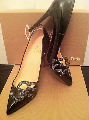 CHRISTIAN LOUBOUTIN WOMEN'S BLACK PATENT LEATHER HEELS PUMPS SIZE 38.5 (US 8.5)