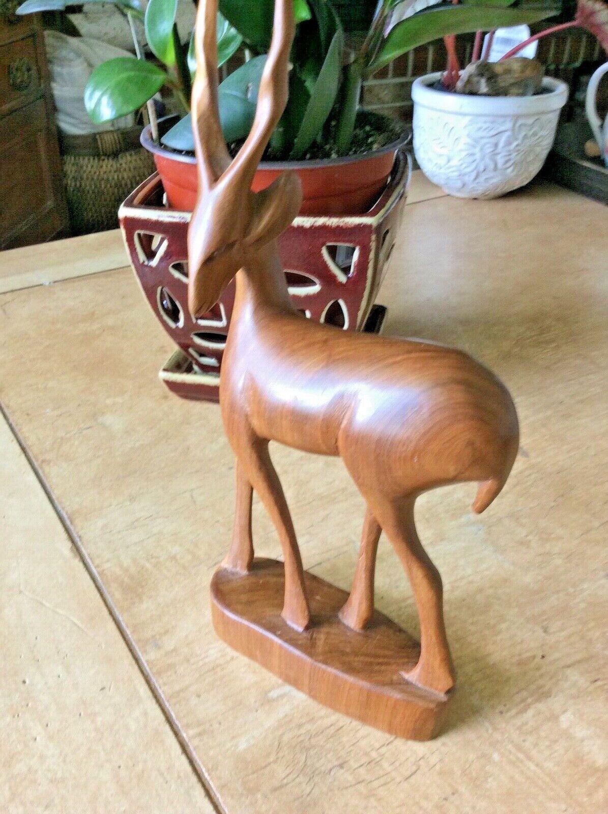 Mid Century Carved Wooden Ibis, Gazelle - $10.50