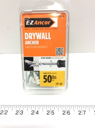 E-Z Ancor 25200 Twist-N-Lock 50 lbs Drywall Anchor with Screws 25 Pack