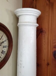 Antique white painted architectural wooden column 7 ft