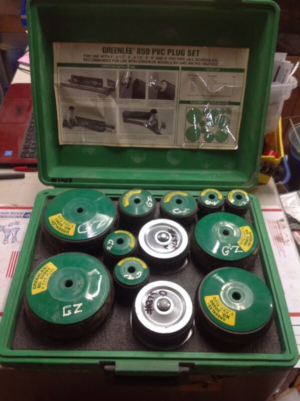 """Greenlee 859 pvc plug set 2""""-6"""" with carry case #7195B"""