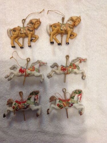 Vintage Willits Carousel Horse Collectible Christmas Ornaments Lot of 6