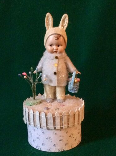 ADORABLE KEWPIE DOLL IN BUNNY RABBIT COSTUME GIFT BOX CANDY CONTAINER EASTER