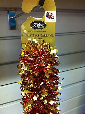 Christmas Garland Tinsel - Red & Gold 2x2m NEW Made in UK  - Halloween Garlands Uk