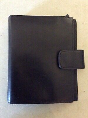 Franklin Covey Italian Calfskin Leather Black 6 Ring Compact Planner With Extras