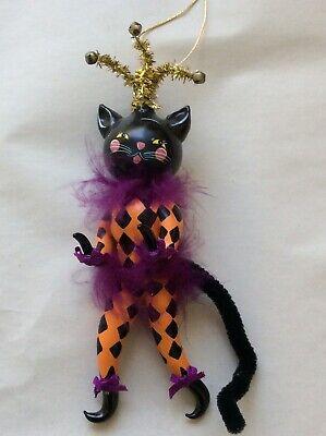 halloween glass ornament Jester Cat