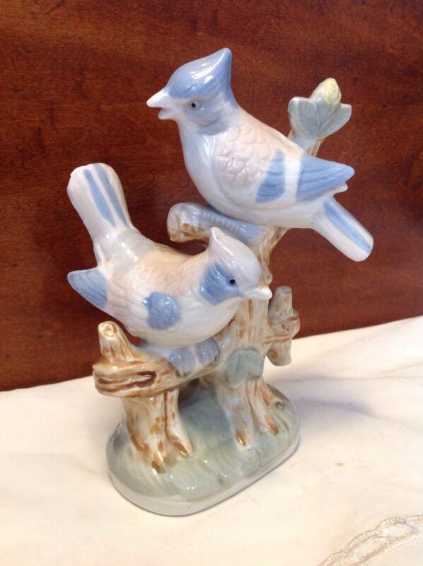 "Vintage 7"" Artmark-Taiwan Ceramic Porcelain Pair Blue Jays Figurine"