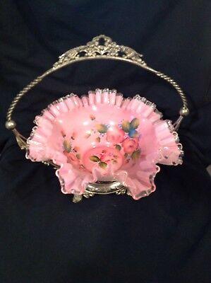 ( VINTAGE HP Silver Crest Pink  Overlay Brides Bowl Basket with Metal Holder)