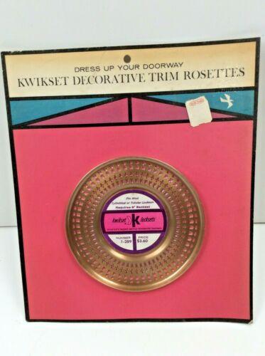 "Vintage Kwikset 1-289 Round 5"" Decorative Trim Rosette Antique Brass 5"" Backset"