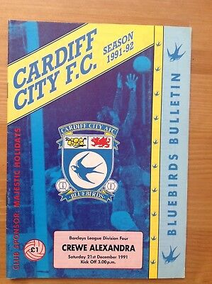 CARDIFF CITY v CREWE ALEXANDRA  (POSTPONED GAME) Division 4 1991/92