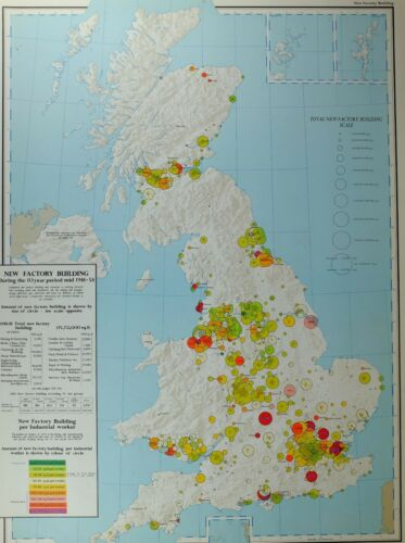 VINTAGE LARGE MAP of BRITAIN NEW FACTORY BUILDING MINING & QUARRYING INDUSTRIAL
