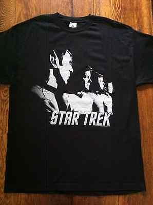 Star Trek Black & White T Shirt - Size XL - Alstyle - Kirk, Spock, Bones, Scott
